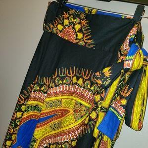 Boutique African Print Wrap Maxi Skirt, OSFM